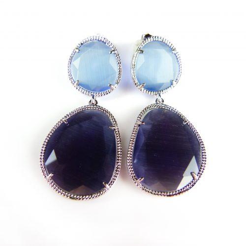zilveren oorringen oorbellen blauwe en paarse stenen