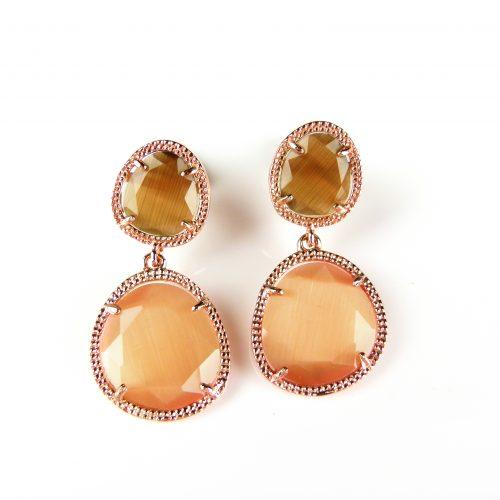 zilveren oorringen oorbellen roos goud verguld bruine oranje stenen