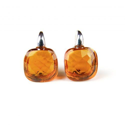 zilveren oorringen oorbellen cognac bruine stenen