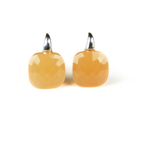 zilveren oorringen oorbellen gele stenen