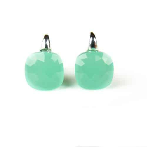Zilveren oorringen oorbellen Model New Trend gezet met munt groene steen - Turkoois