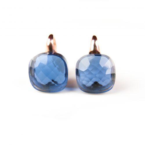 zilveren oorringen oorbellen roos goud verguld blauwe stenen