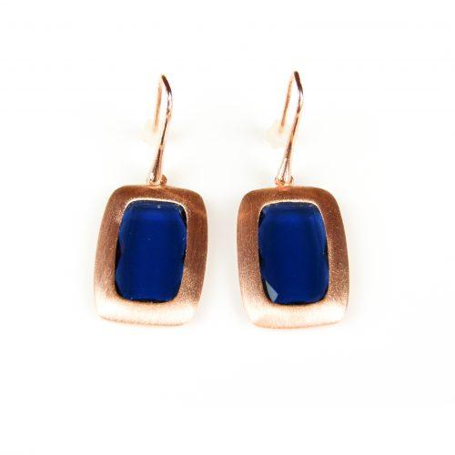 zilveren oorringen oorbellen roos goud verguld donker blauwe stenen