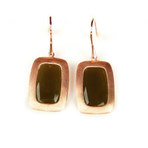 zilveren oorringen oorbellen roos goud verguld bruine stenen