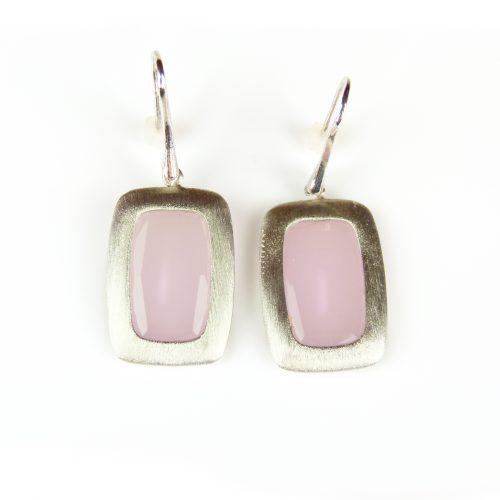 zilveren oorringen oorbellen roze stenen