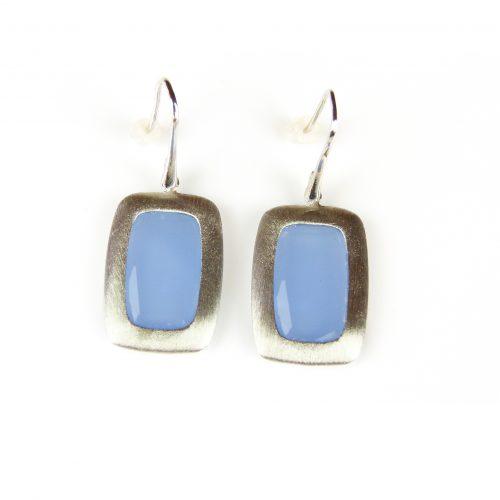 zilveren oorringen oorbellen blauwe stenen