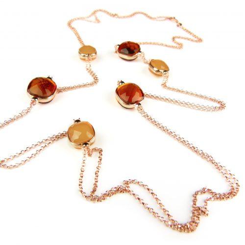 zilveren halsketting halssnoer collier roos goud verguld cognackleurige stenen