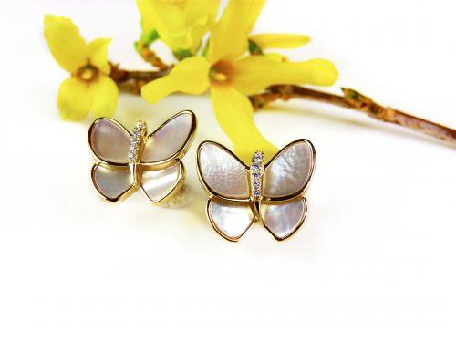 zilveren oorringen oorbellen geel goud verguld vlinders parelmoer