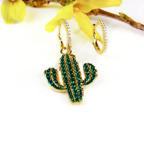 zilveren oorringen oorbellen geel goud verguld cactus