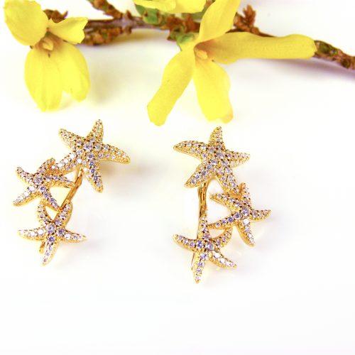 zilveren oorringen oorbellen geel goud verguld zeesterren