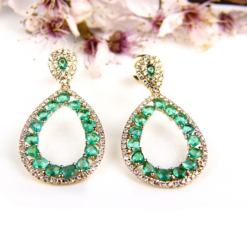 roos gouden oorringen oorbellen met smaragd en diamant