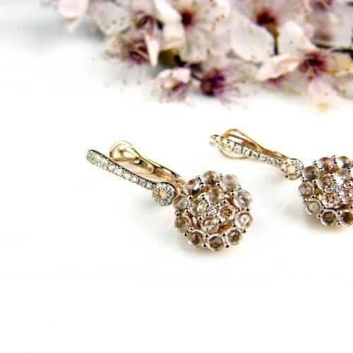 roos gouden oorringen oorbellen gezet met diamant en witte topaas