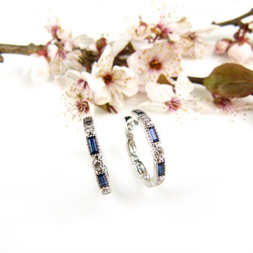 wit gouden oorringen oorbellen met saffier en diamant