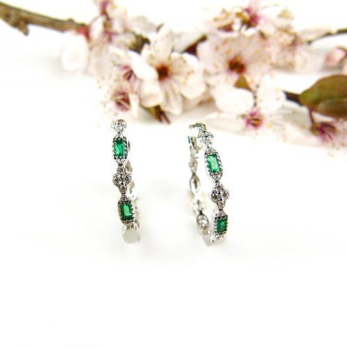 wit gouden oorringen oorbellen met smaragden en diamanten