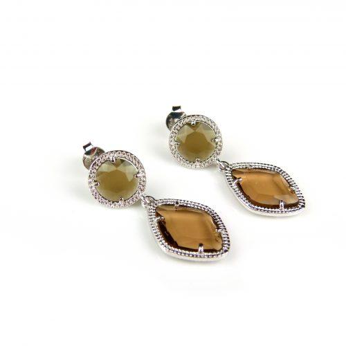 zilveren oorringen oorbellen met bruine stenen