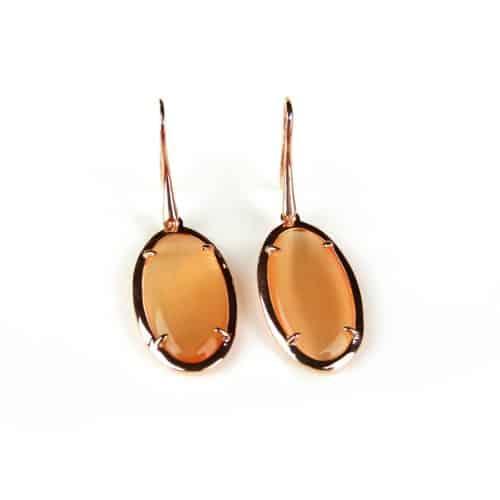 Zilveren oorringen oorbellen roos goud verguld Model Oval Oranje stenen - Koper