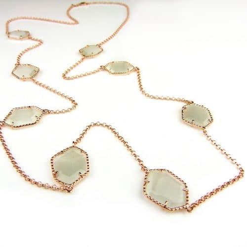 Zilveren halsketting halssnoer collier roos goud verguld Model Hexagon gezet met parelmoerkleurige stenen