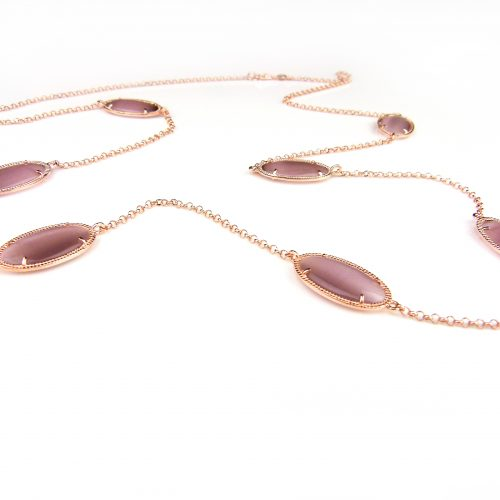 zilveren halssnoer halsketting collier roos goud verguld bruine stenen