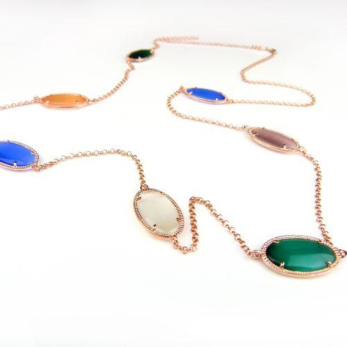zilveren halsketting collier halssnoer roos goud verguld gekleurde stenen multicolor