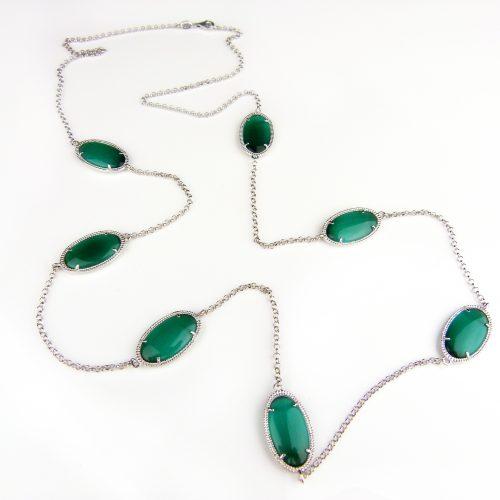 zilveren halsketting halssnoer collier Model Oval met groene stenen