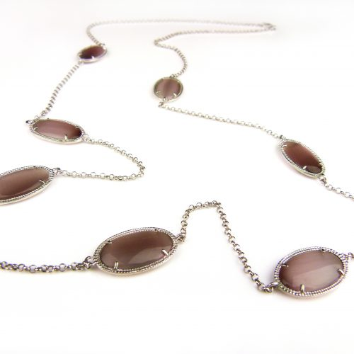 zilveren halsketting collier halssnoer met bruine stenen