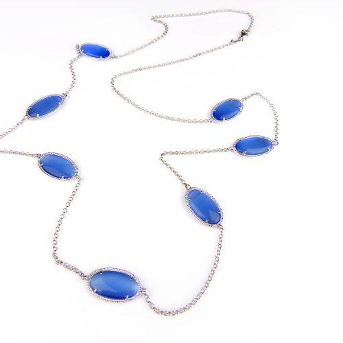 zilveren halsketting collier halssnoer met blauwe stenen
