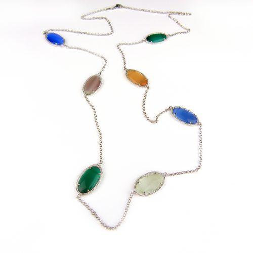 zilveren halssnoer halsketting collier met gekleurde stenen