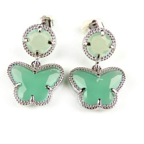 Zilveren oorringen oorbellen Model vlinder en rond gezet met muntgroene steen
