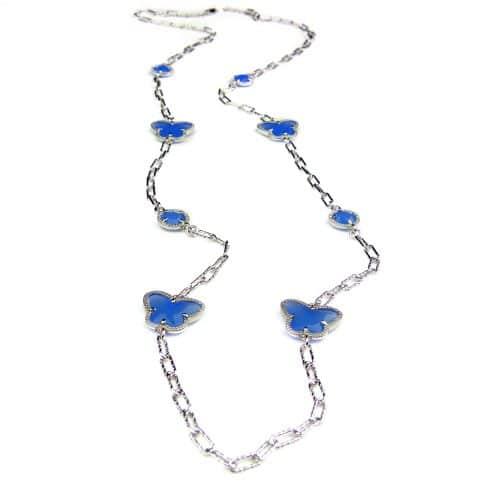 lange zilveren halsketting collier halssnoer gerhodineerd Model Vlinder en Bol met blauwe stenen