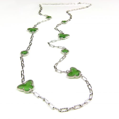 lange zilveren halsketting collier halssnoer gerhodineerd Model Vlinder en Bol met groene stenen
