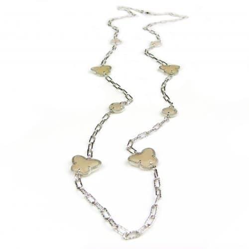 lange zilveren halsketting collier halssnoer gerhodineerd Model Vlinder en Bol met beige stenen