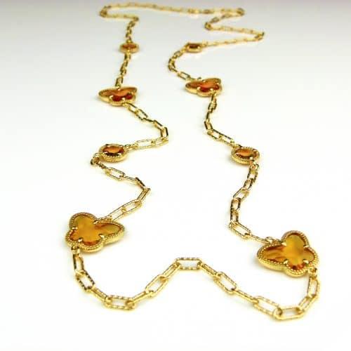 lange zilveren halsketting collier halssnoer geelgoud verguld Model Vlinder en Bol met amber bruine stenen