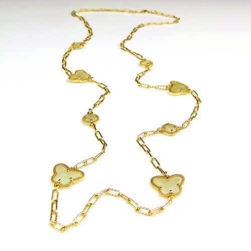 lange zilveren halsketting collier halssnoer geelgoud verguld Model Vlinder en Bol met parelmoerkleurige stenen