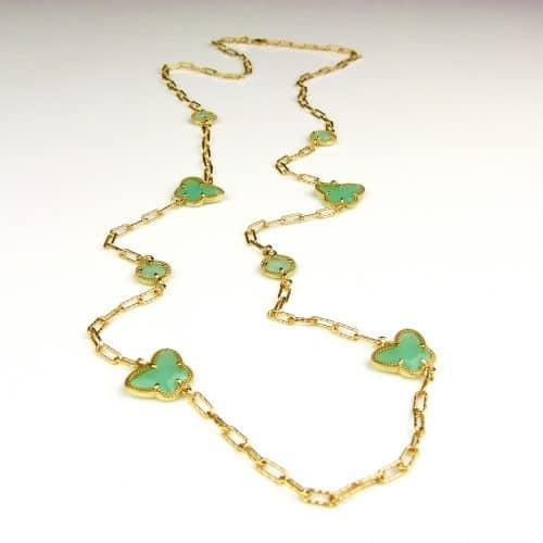 lange zilveren halsketting collier halssnoer geelgoud verguld Model Vlinder en Bol met munt groene stenen