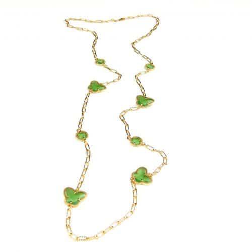 lange zilveren halsketting collier halssnoer geelgoud verguld Model Vlinder en Bol met groene stenen