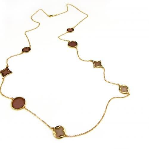 lange zilveren collier halsketting halssnoer geelgoud verguld Model Blossom met roze stenen